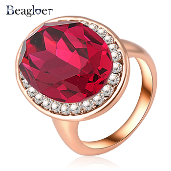 Beagloer Vintage Ring Wholesale New Rings Rose Gold Color Exaggerated Ring Made With AAA Cubic Zircon Ring Ri-HQ0097