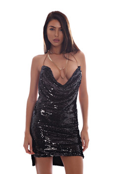 Payetli dress hollow out seksi derin v boyun backless metal boyun halter kolsuz dress 2017 yaz kadın vintage vestidos